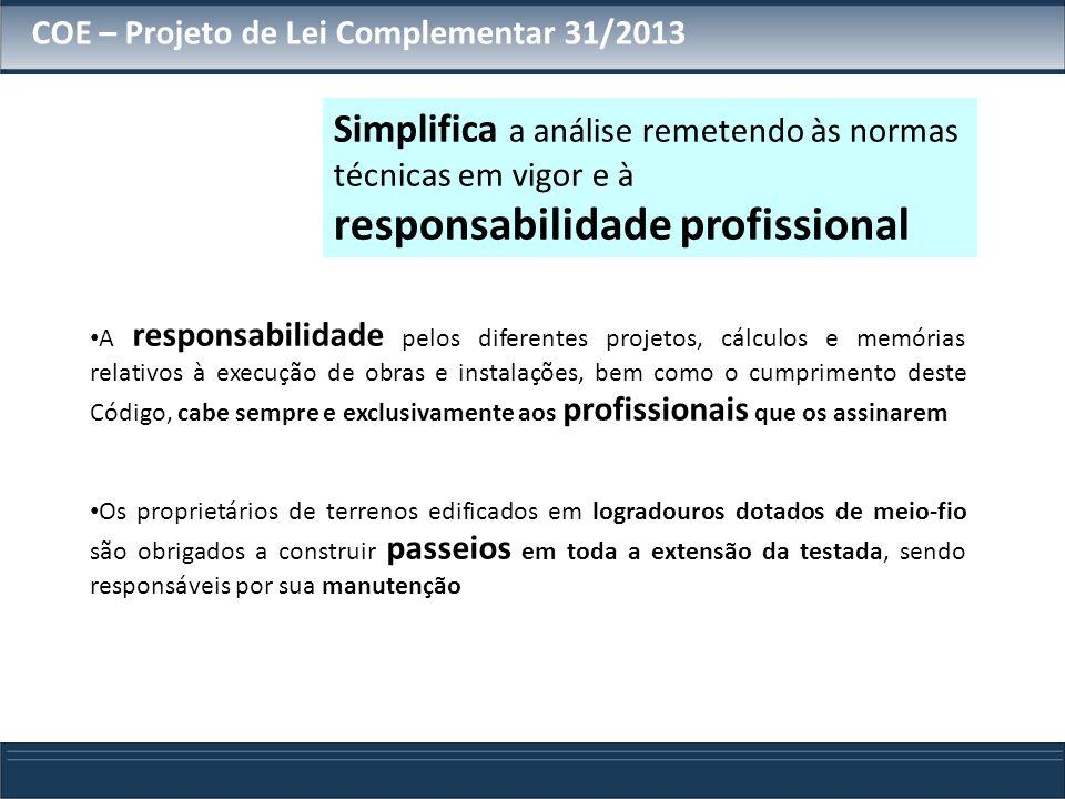 COE – Projeto de Lei Complementar 31/2013