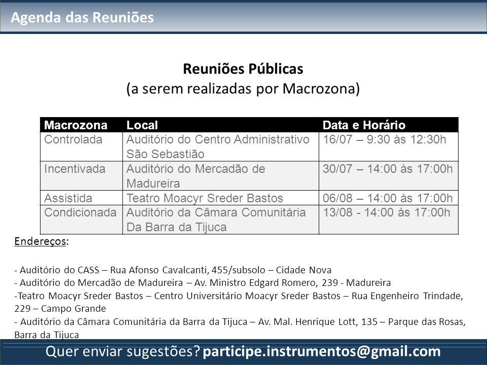 Agenda das Reuniões Reuniões Públicas