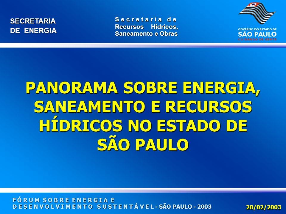 PANORAMA SOBRE ENERGIA, SANEAMENTO E RECURSOS HÍDRICOS NO ESTADO DE SÃO PAULO