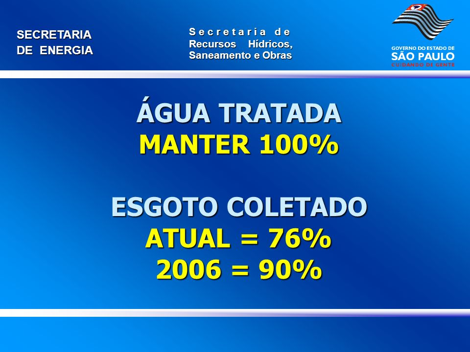ÁGUA TRATADA MANTER 100% ESGOTO COLETADO ATUAL = 76% 2006 = 90%