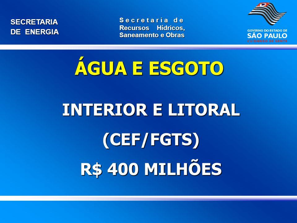 INTERIOR E LITORAL (CEF/FGTS) R$ 400 MILHÕES