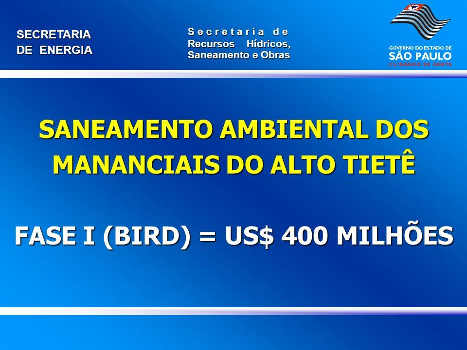 SANEAMENTO AMBIENTAL DOS MANANCIAIS DO ALTO TIETÊ FASE I (BIRD) = US$ 400 MILHÕES