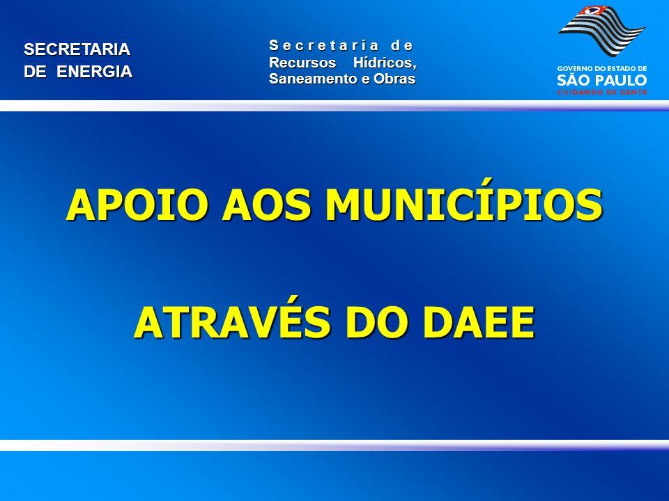APOIO AOS MUNICÍPIOS ATRAVÉS DO DAEE