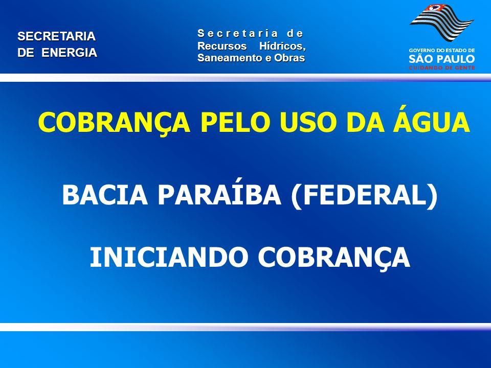 BACIA PARAÍBA (FEDERAL) INICIANDO COBRANÇA
