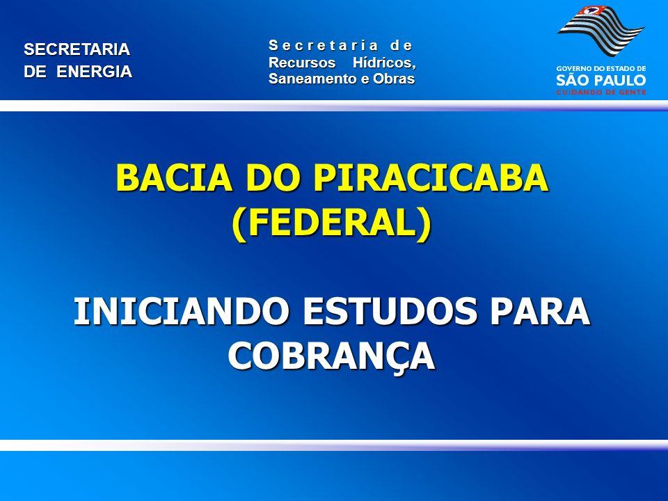 BACIA DO PIRACICABA (FEDERAL) INICIANDO ESTUDOS PARA COBRANÇA