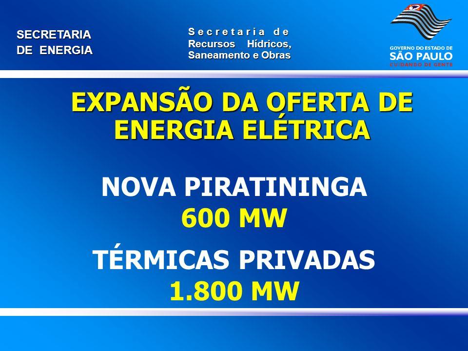 NOVA PIRATININGA 600 MW TÉRMICAS PRIVADAS 1.800 MW