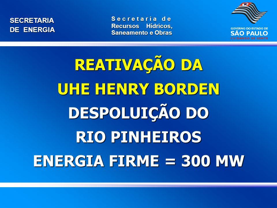 UHE HENRY BORDEN DESPOLUIÇÃO DO RIO PINHEIROS ENERGIA FIRME = 300 MW