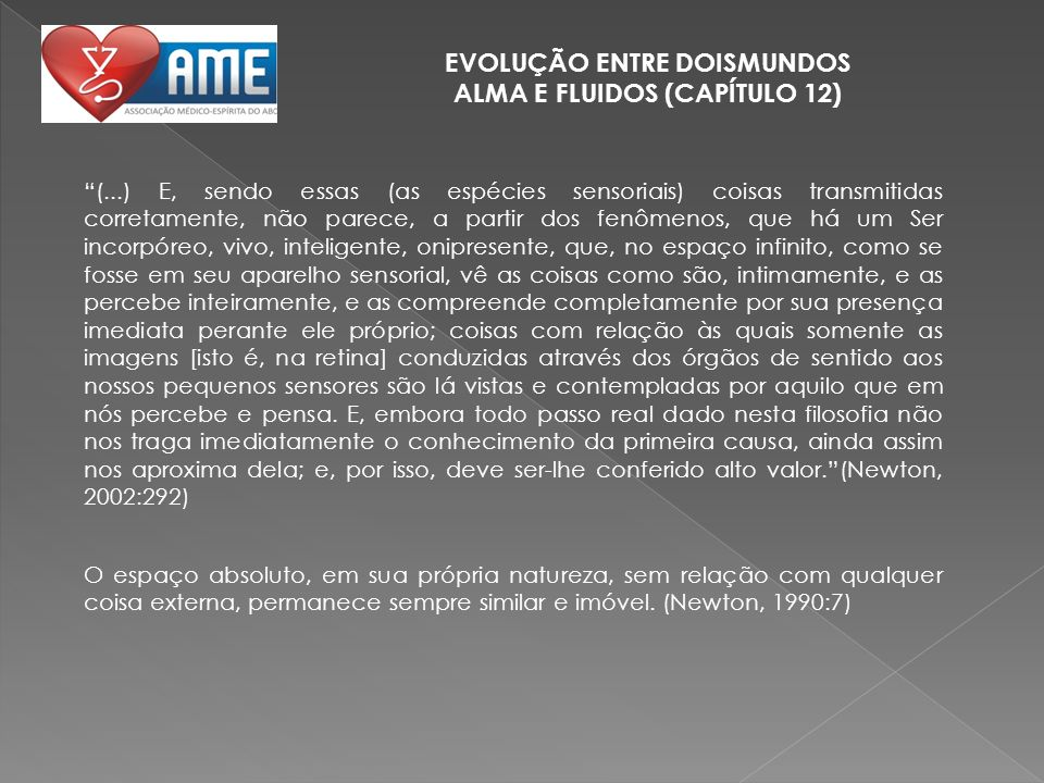 EVOLUÇÃO ENTRE DOISMUNDOS ALMA E FLUIDOS (CAPÍTULO 12)