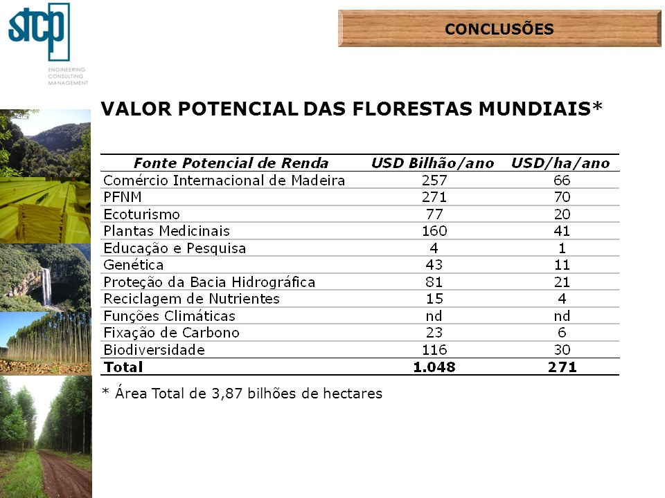 VALOR POTENCIAL DAS FLORESTAS MUNDIAIS*