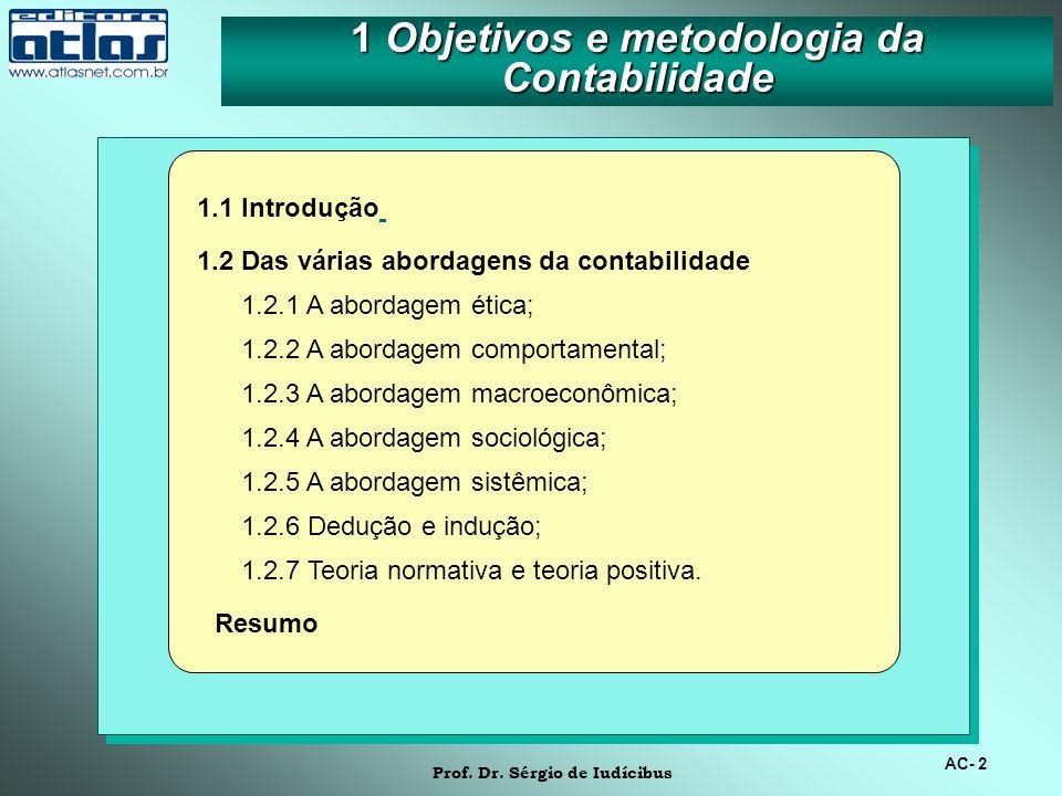 1 Objetivos e metodologia da Contabilidade