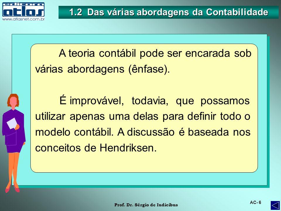 1.2 Das várias abordagens da Contabilidade