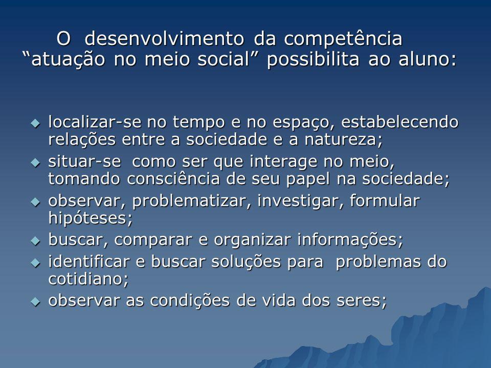 O desenvolvimento da competência atuação no meio social possibilita ao aluno: