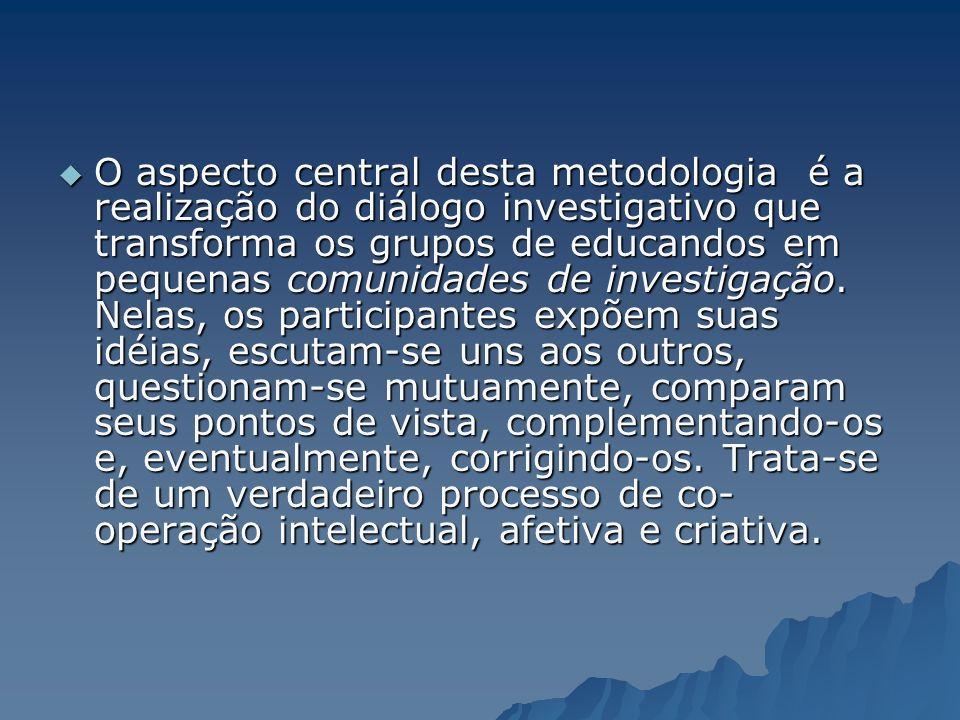 O aspecto central desta metodologia é a realização do diálogo investigativo que transforma os grupos de educandos em pequenas comunidades de investigação.