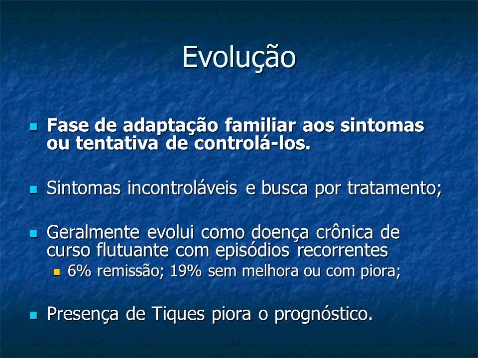 Evolução Fase de adaptação familiar aos sintomas ou tentativa de controlá-los. Sintomas incontroláveis e busca por tratamento;