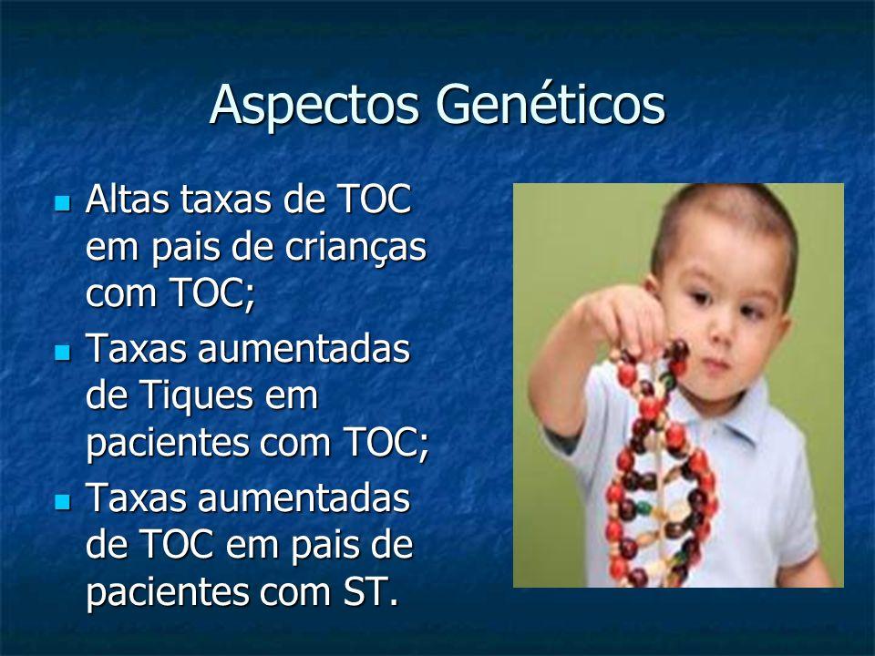 Aspectos Genéticos Altas taxas de TOC em pais de crianças com TOC;