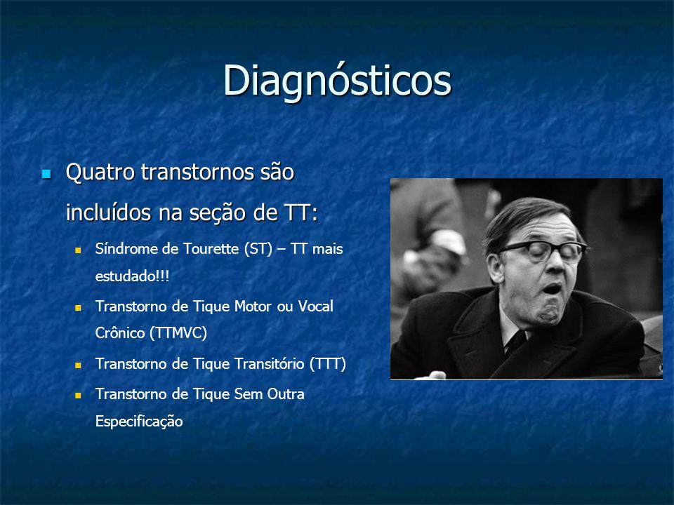 Diagnósticos Quatro transtornos são incluídos na seção de TT: