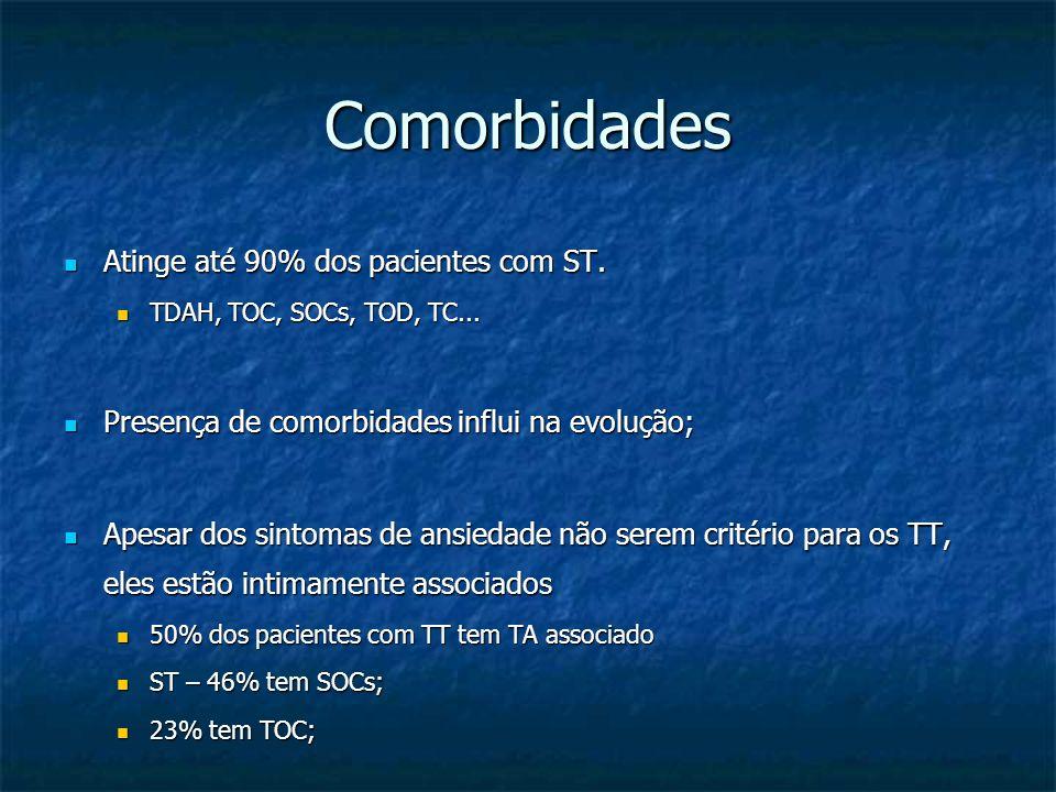 Comorbidades Atinge até 90% dos pacientes com ST.