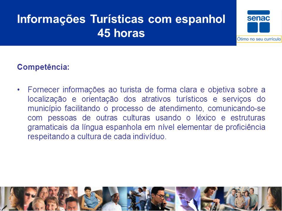 Informações Turísticas com espanhol 45 horas