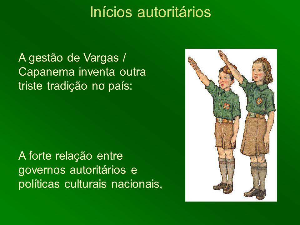 Inícios autoritários A gestão de Vargas / Capanema inventa outra triste tradição no país: