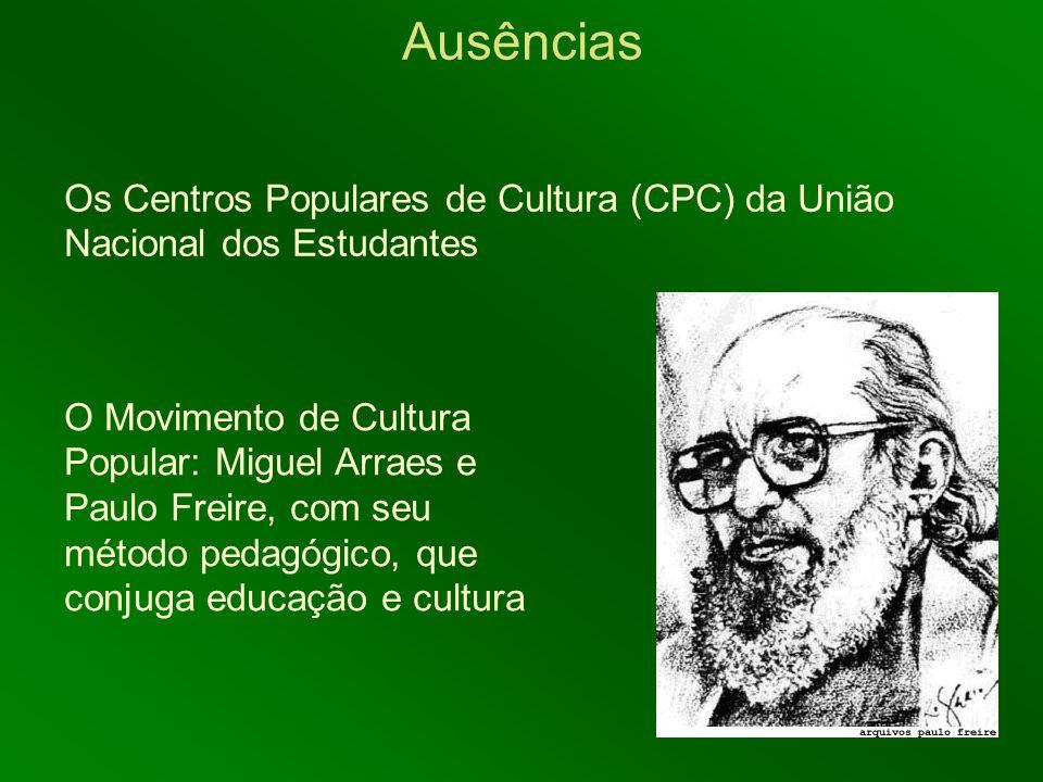Ausências Os Centros Populares de Cultura (CPC) da União Nacional dos Estudantes.