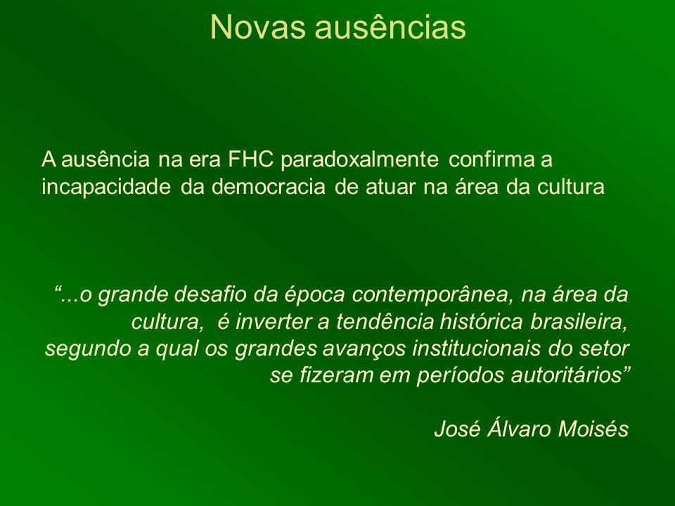 Novas ausências A ausência na era FHC paradoxalmente confirma a incapacidade da democracia de atuar na área da cultura.