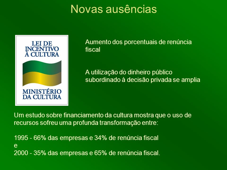 Novas ausências Aumento dos porcentuais de renúncia fiscal