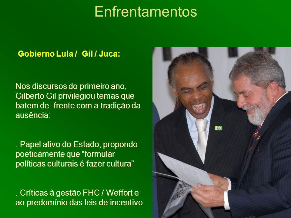 Enfrentamentos Gobierno Lula / Gil / Juca: