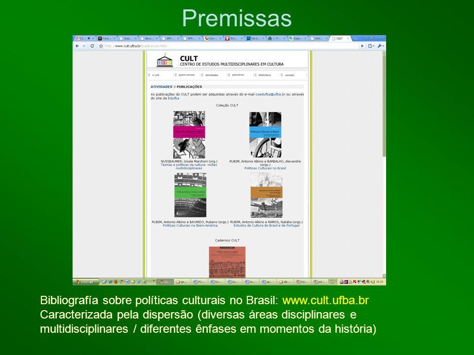 Premissas Bibliografía sobre políticas culturais no Brasil: www.cult.ufba.br.