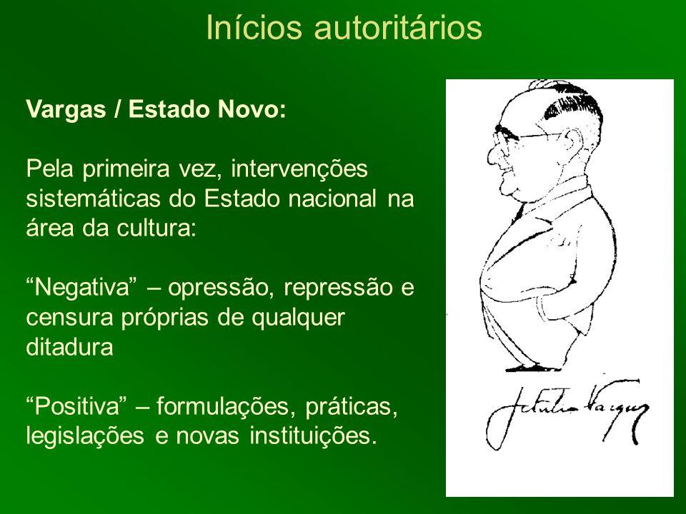 Inícios autoritários Vargas / Estado Novo: