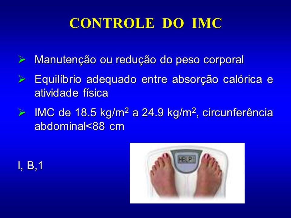 CONTROLE DO IMC Manutenção ou redução do peso corporal