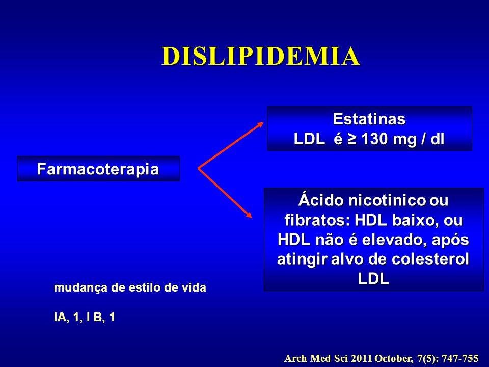 DISLIPIDEMIA Estatinas LDL é ≥ 130 mg / dl Farmacoterapia