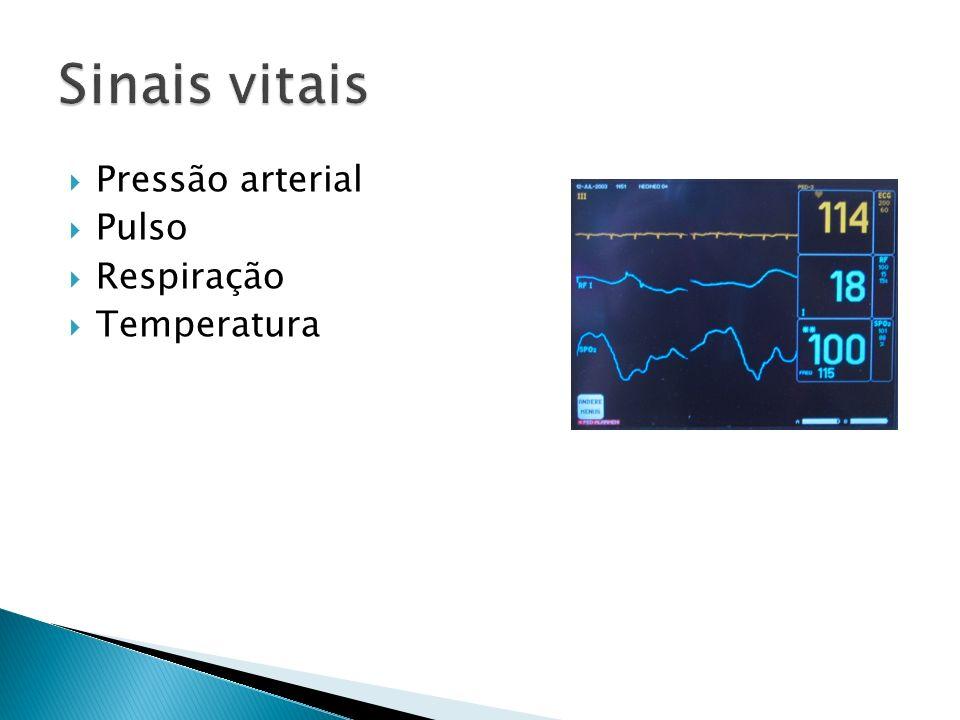 Sinais vitais Pressão arterial Pulso Respiração Temperatura