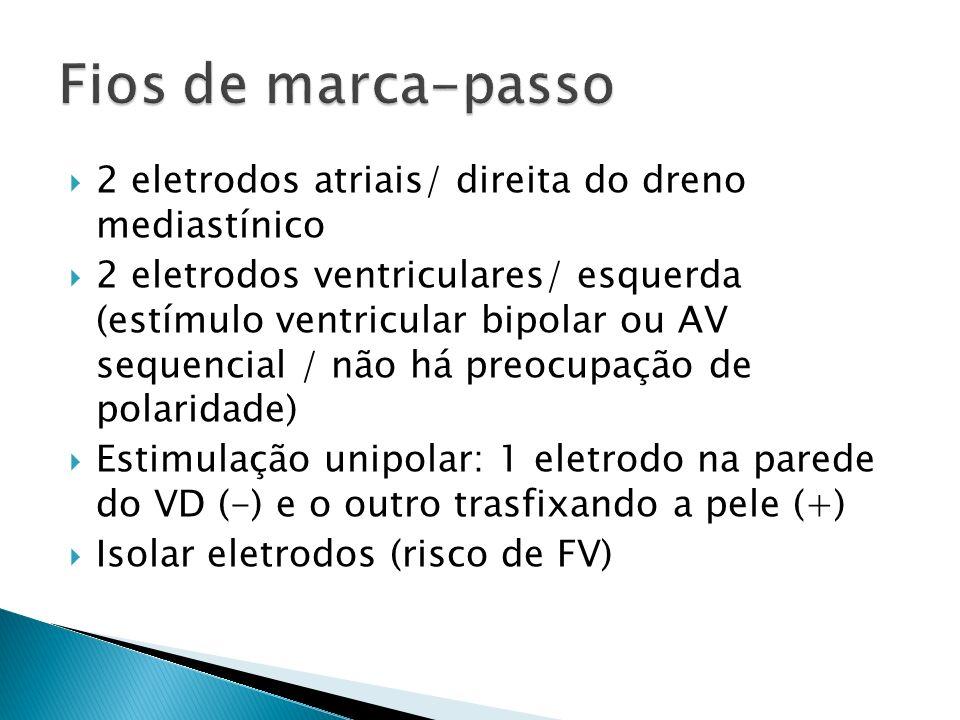 Fios de marca-passo 2 eletrodos atriais/ direita do dreno mediastínico