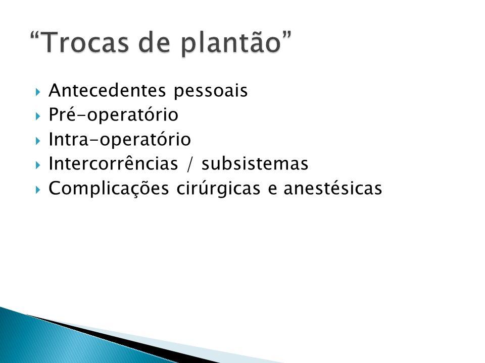 Trocas de plantão Antecedentes pessoais Pré-operatório