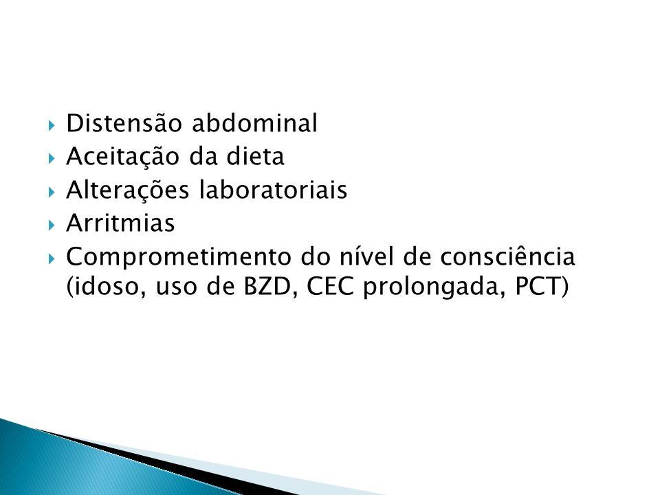Distensão abdominal Aceitação da dieta. Alterações laboratoriais. Arritmias.