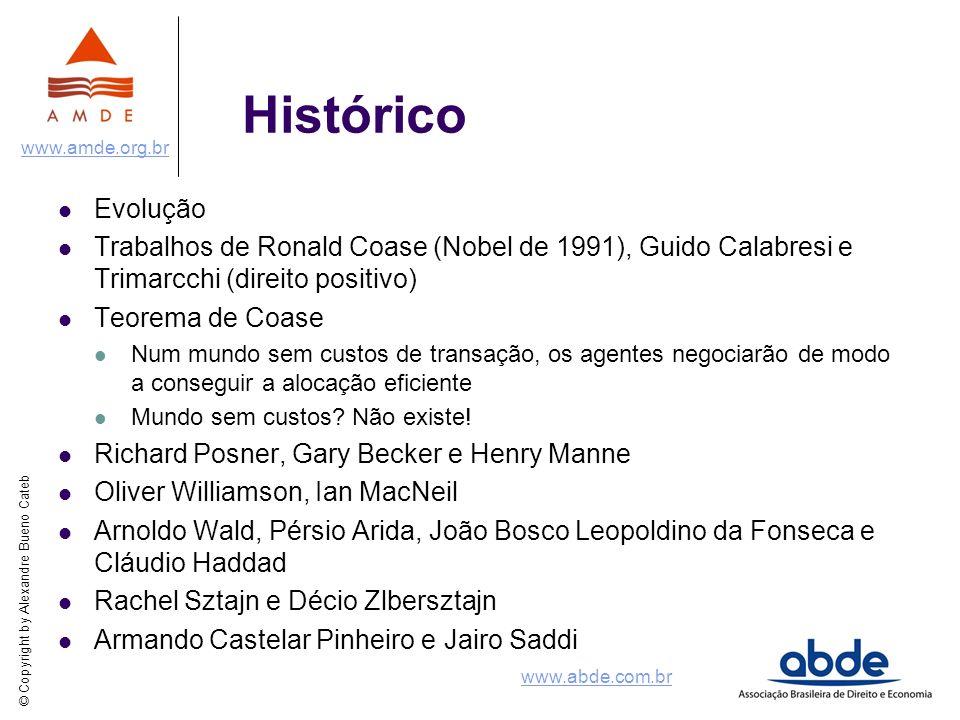 Histórico Evolução. Trabalhos de Ronald Coase (Nobel de 1991), Guido Calabresi e Trimarcchi (direito positivo)