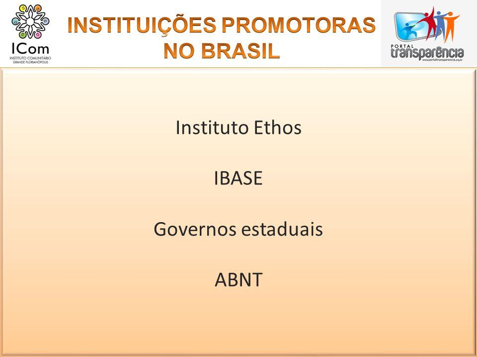 INSTITUIÇÕES PROMOTORAS NO BRASIL