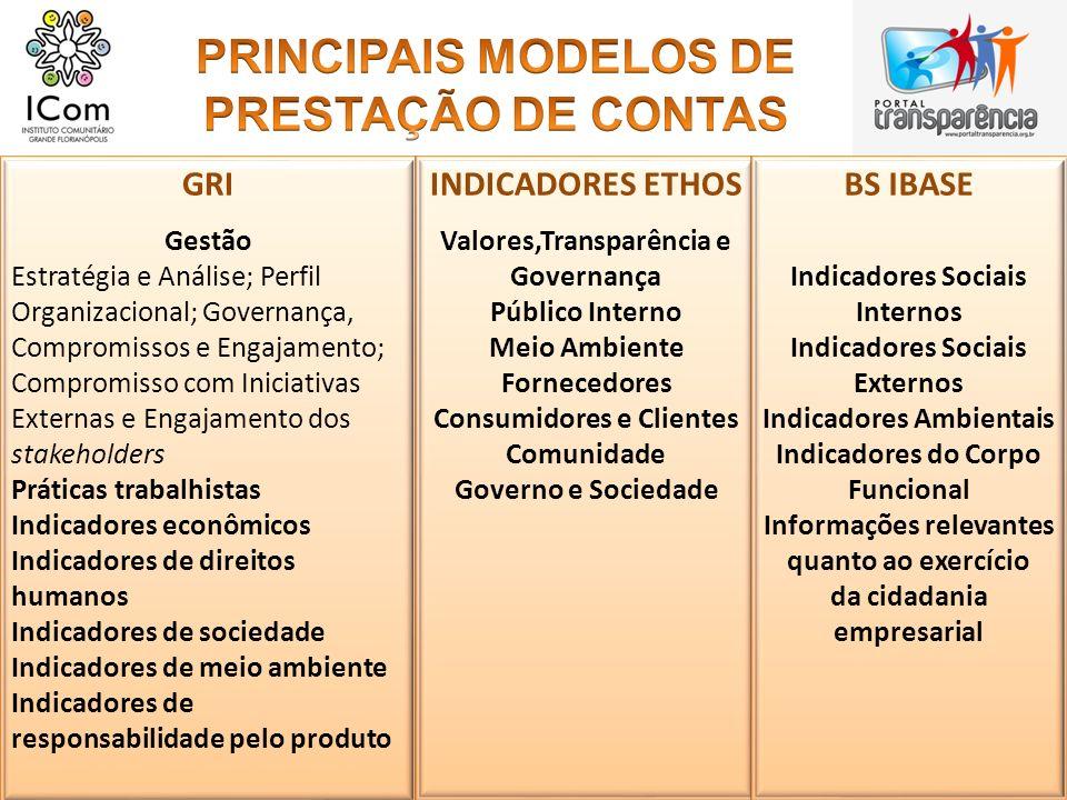 PRINCIPAIS MODELOS DE PRESTAÇÃO DE CONTAS