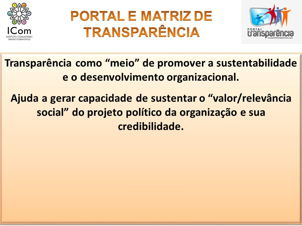 PORTAL E MATRIZ DE TRANSPARÊNCIA