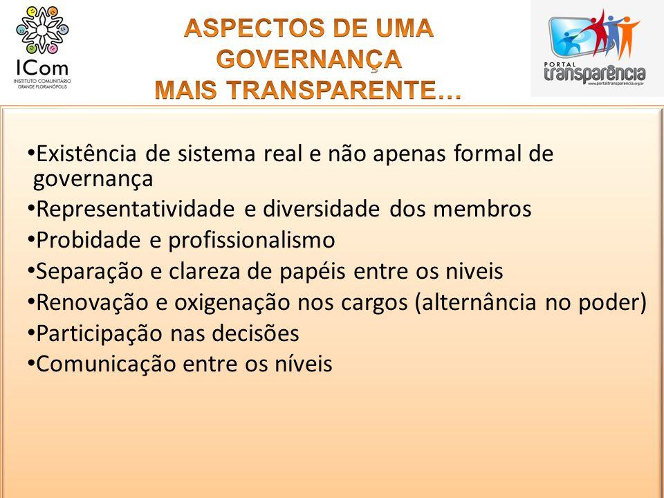 ASPECTOS DE UMA GOVERNANÇA MAIS TRANSPARENTE…