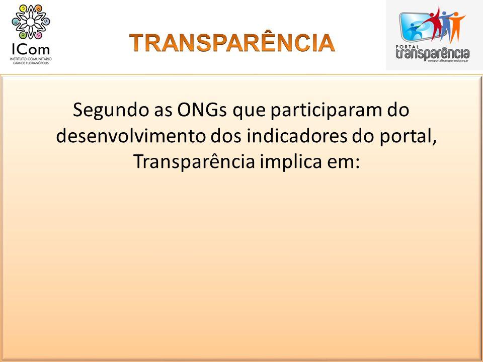 TRANSPARÊNCIA Segundo as ONGs que participaram do desenvolvimento dos indicadores do portal, Transparência implica em: