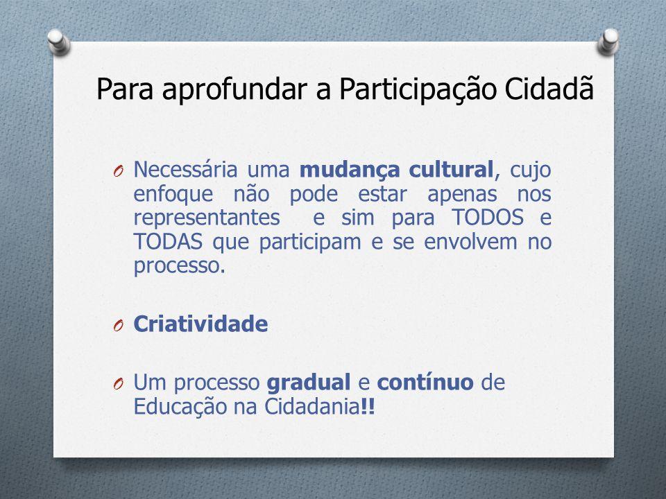 Para aprofundar a Participação Cidadã