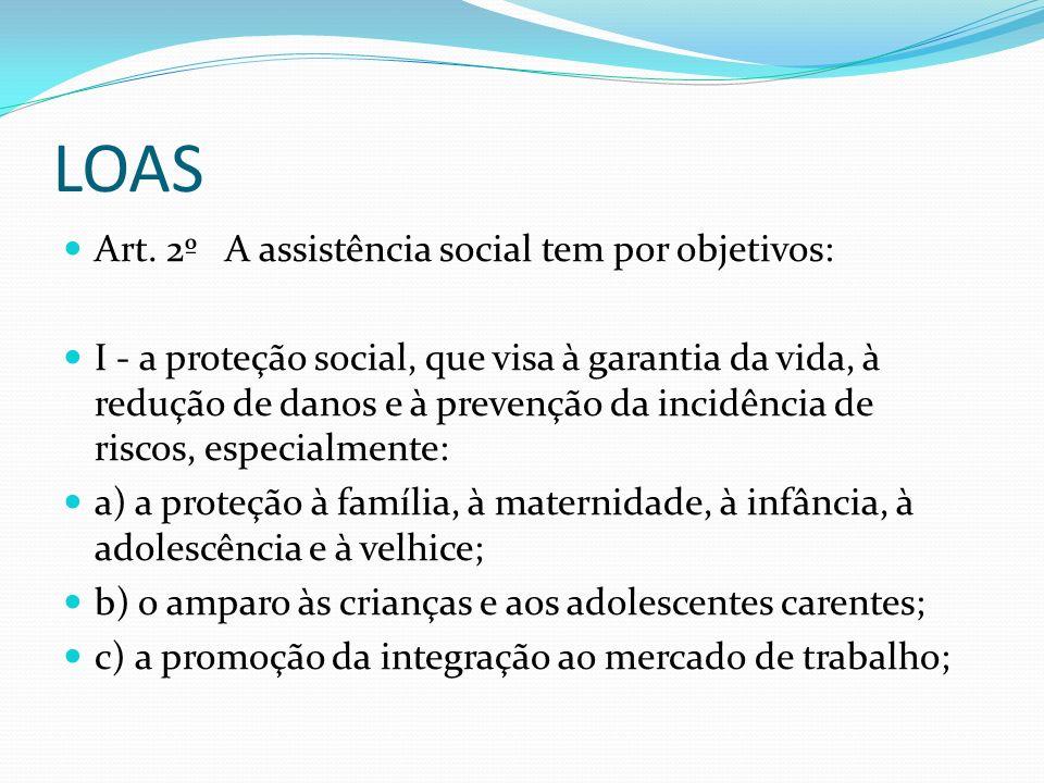 LOAS Art. 2º A assistência social tem por objetivos: