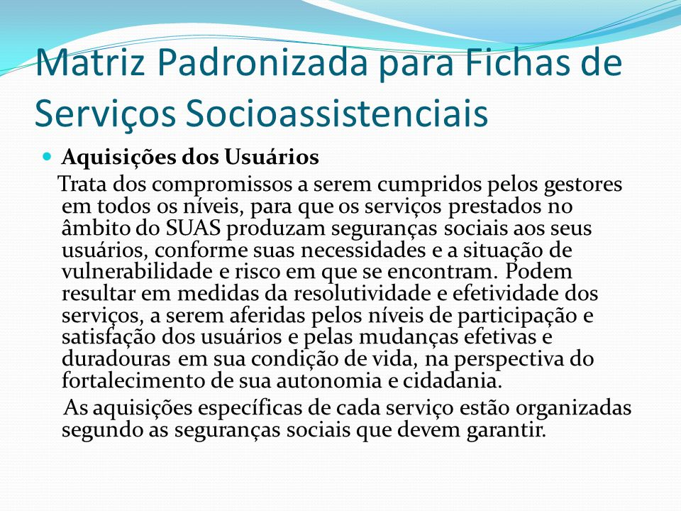 Matriz Padronizada para Fichas de Serviços Socioassistenciais
