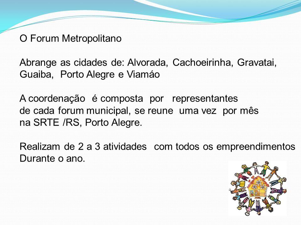 O Forum Metropolitano Abrange as cidades de: Alvorada, Cachoeirinha, Gravatai, Guaiba, Porto Alegre e Viamáo.