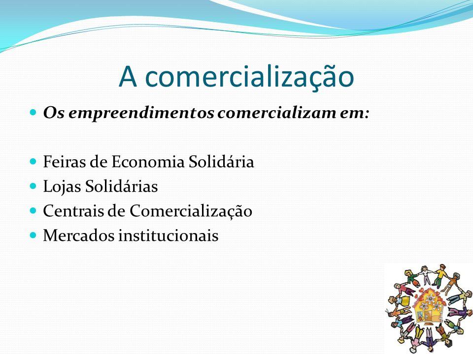 A comercialização Os empreendimentos comercializam em: