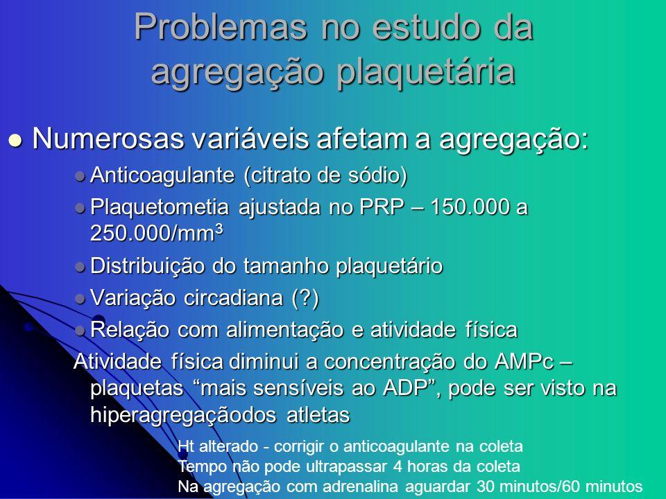 Problemas no estudo da agregação plaquetária
