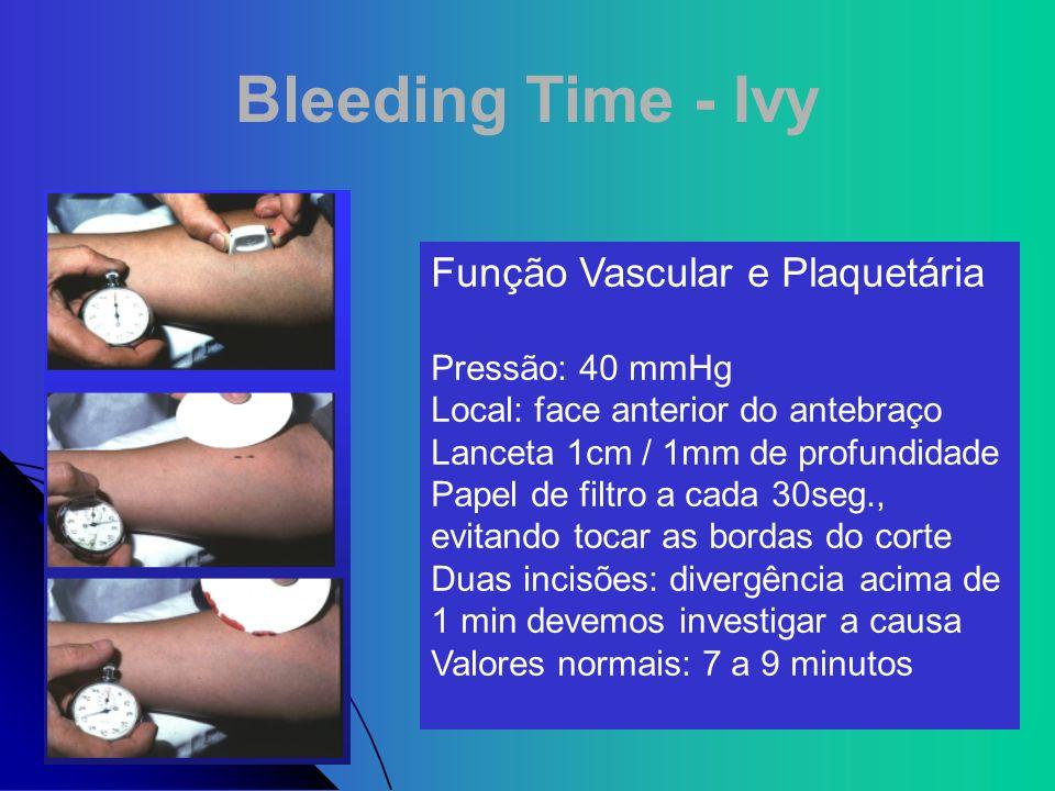 Bleeding Time - Ivy Função Vascular e Plaquetária Pressão: 40 mmHg