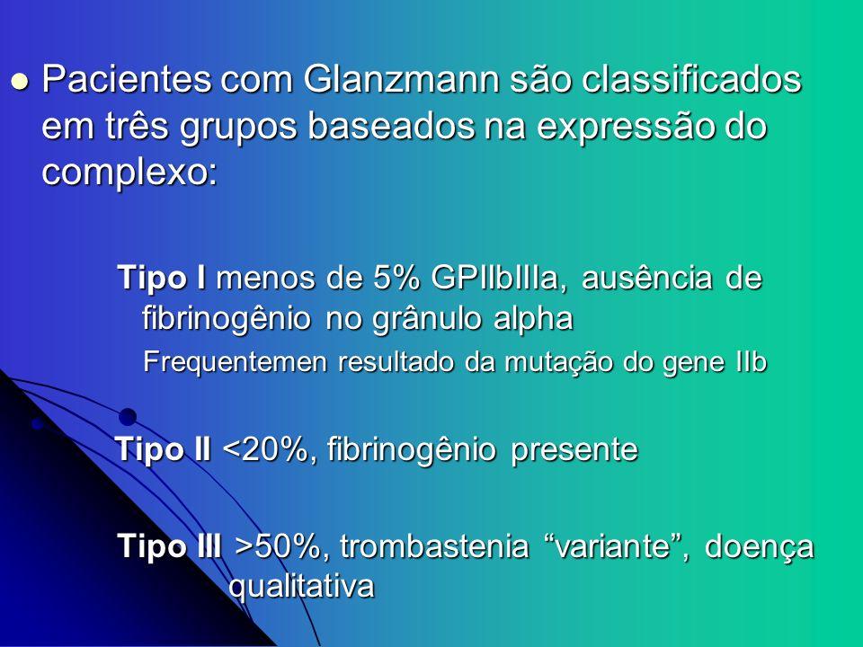 Pacientes com Glanzmann são classificados em três grupos baseados na expressão do complexo: