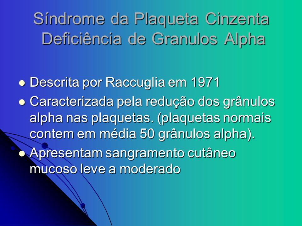 Síndrome da Plaqueta Cinzenta Deficiência de Granulos Alpha